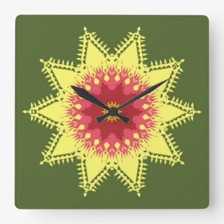Artistic mandala on green wall clocks
