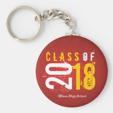 Artistic Red and Yellow Class of 2018 Keychain