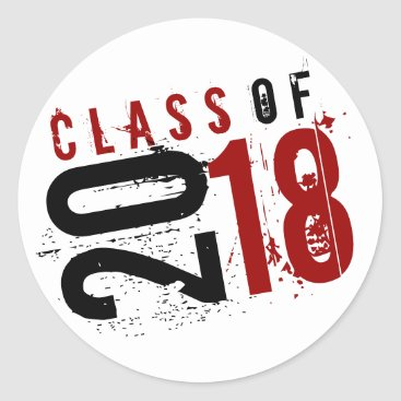 Artistic Red, Black and White Class of 2018 Classic Round Sticker