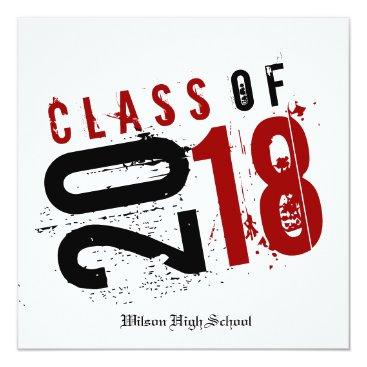 Artistic Red, Black and White Class of 2018 Invitation