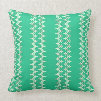 Artistic stripes on aqua green throw pillow