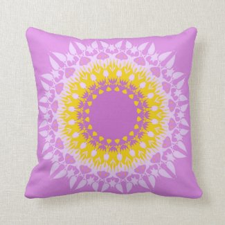 Artistic violet yellow mandala throw pillow