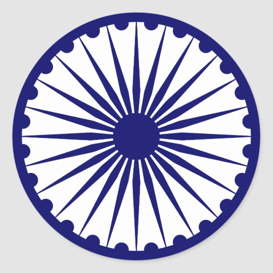 Ashok Chakra 3d Wallpaper Ashoka Chakra India Flag Classic Round Sticker Zazzle Com