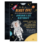 Astronaut Rocket Outer Space Custom Photo 1st Birthday Invitation