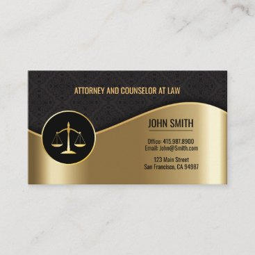 Attorney at Law Black & Gold Scales Business Cards