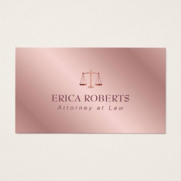 Attorney at Law Elegant Foil Rose Gold Lawyer Business Card