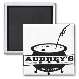 AUDREY's Bar - Supernaturally fun square magnet