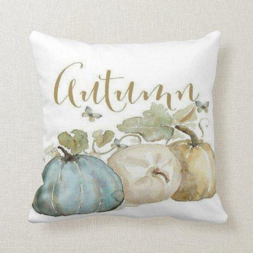Autumn Blue Pumpkin Throw Pillow