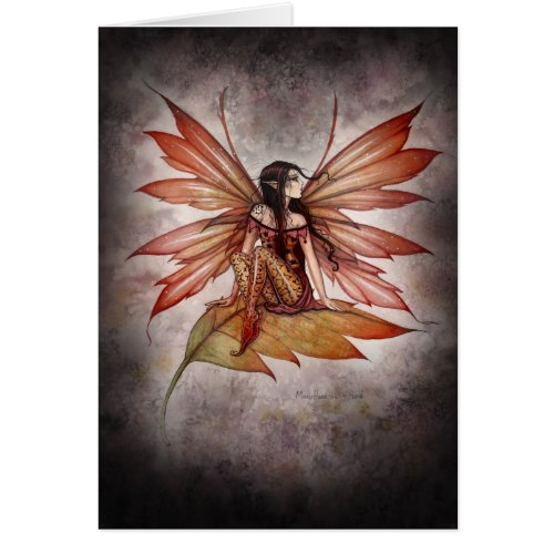 Autumn Drifting Gothic Fairy Fantasy Art Card