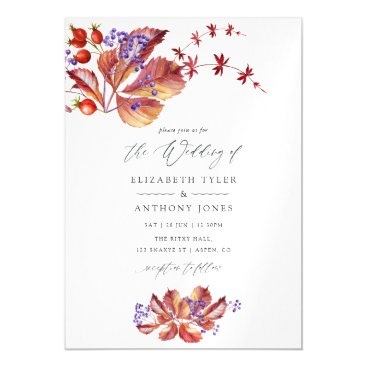 Autumn - Fall Watercolor Wedding Magnetic Invitation