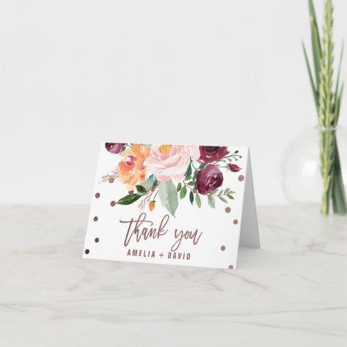 Autumn Floral Rose Gold Light Thank You Card