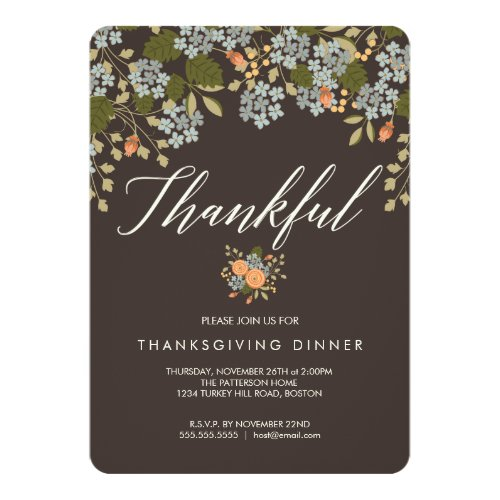 Autumn Floral Thanksgiving Dinner Invitation