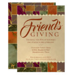 Autumn Friendsgiving Chic Fall Gold Marble Dinner Invitation