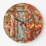 Autumn Leaves Red Yellow Country Antique Window Large Clock