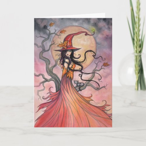 Autumn Magic Witch and Cat Halloween Art Card