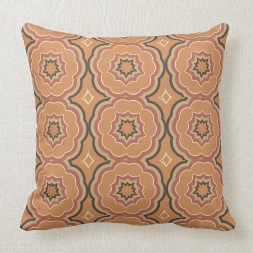 Autumn Pumpkin Spice Kaleidoscope with Cream Throw Pillow