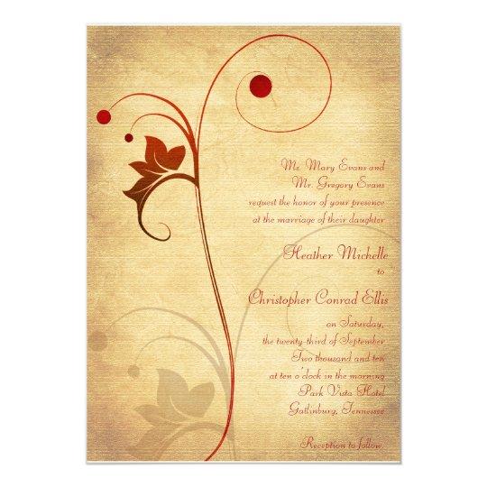 Autumn Rustic Vine Berries Wedding Invitation