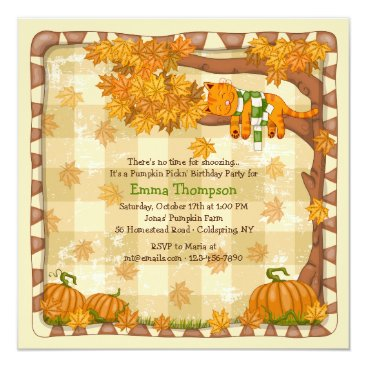 Autumn Sleepy Cat Invitation