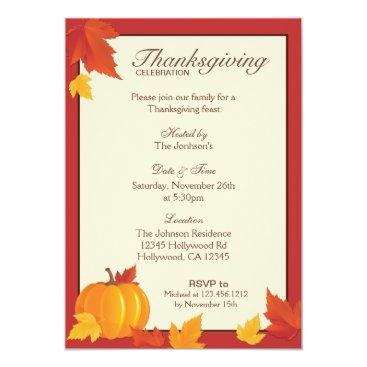 Autumn Thanksgiving Dinner Invitation