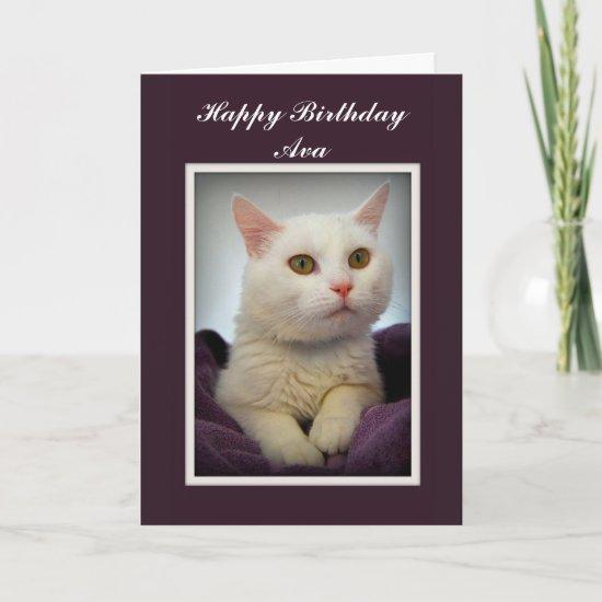Ava Happy Birthday White Cat Card