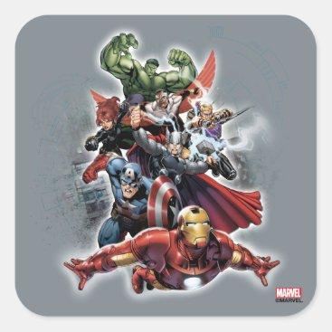 Avengers Attack Graphic Square Sticker