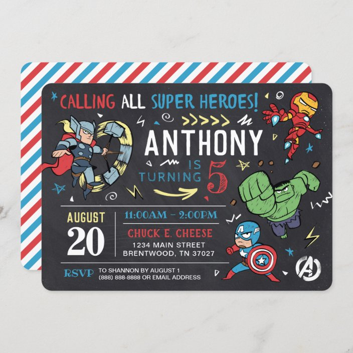 avengers chalkboard birthday invitation zazzle com