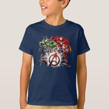 Avengers Classics | Glowing Logo Avengers Group T-Shirt