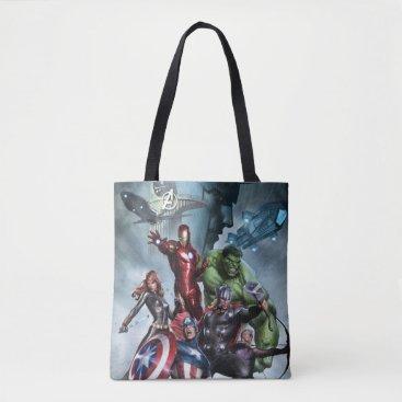 Avengers Versus Loki Drawing Tote Bag