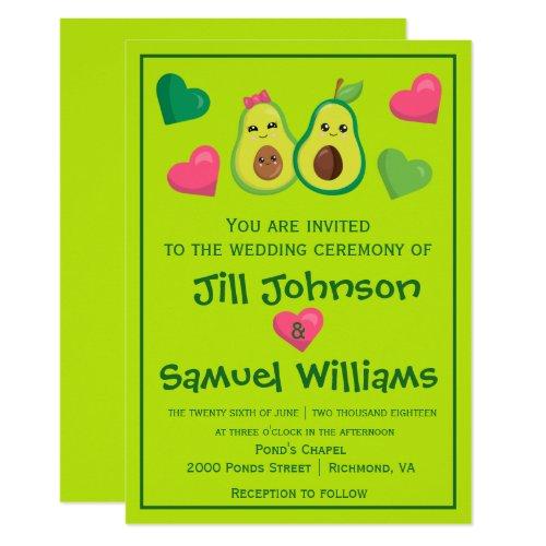 Avocado Hipster Wedding Invitation