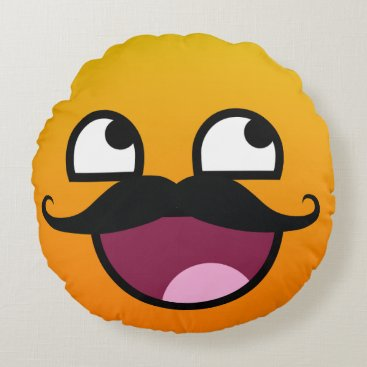Awesome face with mustache Smiley Round Pillow