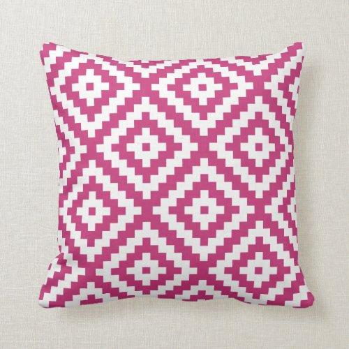 Aztec Geometric Magenta Throw Pillow