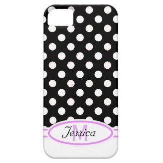 B & W Polka-dot Monogram iPhone 4 Case