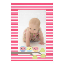Baby Baptism Christening Pink Owls Photo Invite