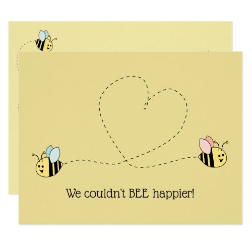 Baby Bee Boy And Girl Twins Invitation