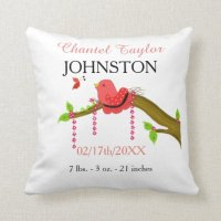 Baby Bird Baby Birth Announcement Throw Pillow