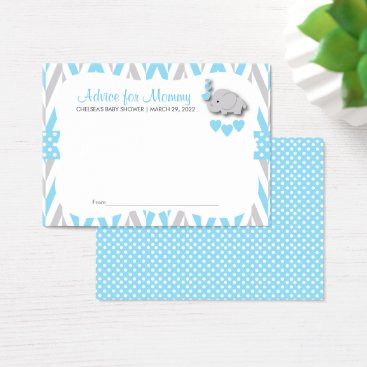 Baby Blue and Gray Elephant Baby Shower 2 - Advice Business Card