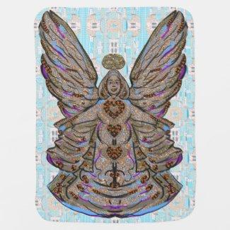 Baby Blue Pattern Angel Art Baby Blanket