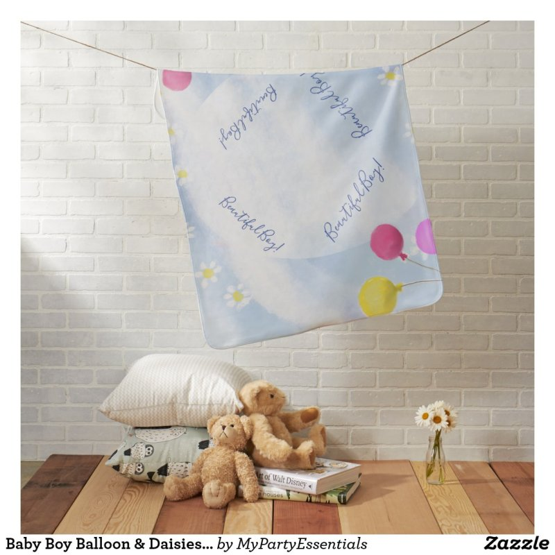 Baby Boy Balloon & Daisies Watercolor Baby Shower Baby Blanket