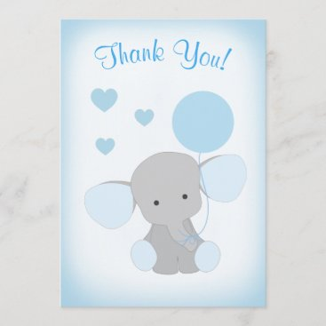 Baby Boy Shower Thank You Card Elephant Blue Gray