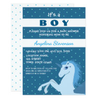 Baby Boy Shower Unicorn Blue Polka Dots Cute Card