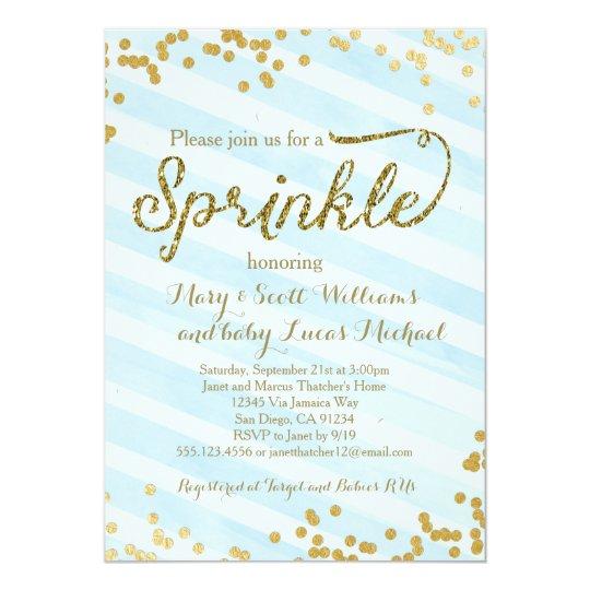 Baby Boy Sprinkle Shower Invitation blue gold  Zazzlecom