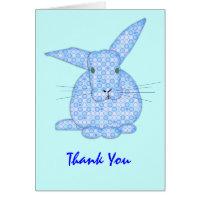 Baby Bunny Applique Blue Thanks Card
