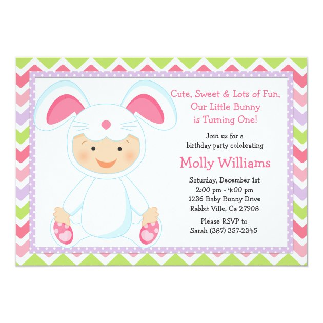 baby bunny birthday party invitation