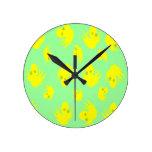 Baby Chicks Round Clock