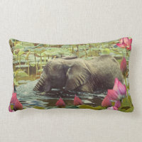 Baby Elephant and Lotus Flowers Lumbar Pillow