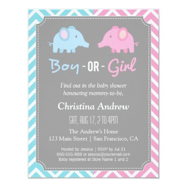 Baby Elephant Gender Reveal Baby Shower Party Card