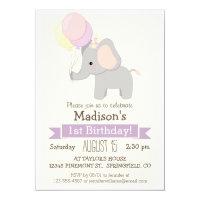 Baby Elephant Girl's Birthday Party Invitation