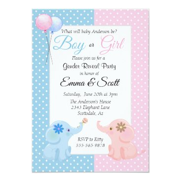 Baby Elephant Pink Blue Gender Reveal Party Invitation