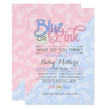 Baby Gender Reveal Party Pink Blue Footprint Invitation