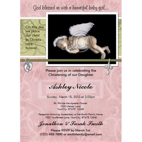 Baby Girl Baptism or Christening Invitation invitation